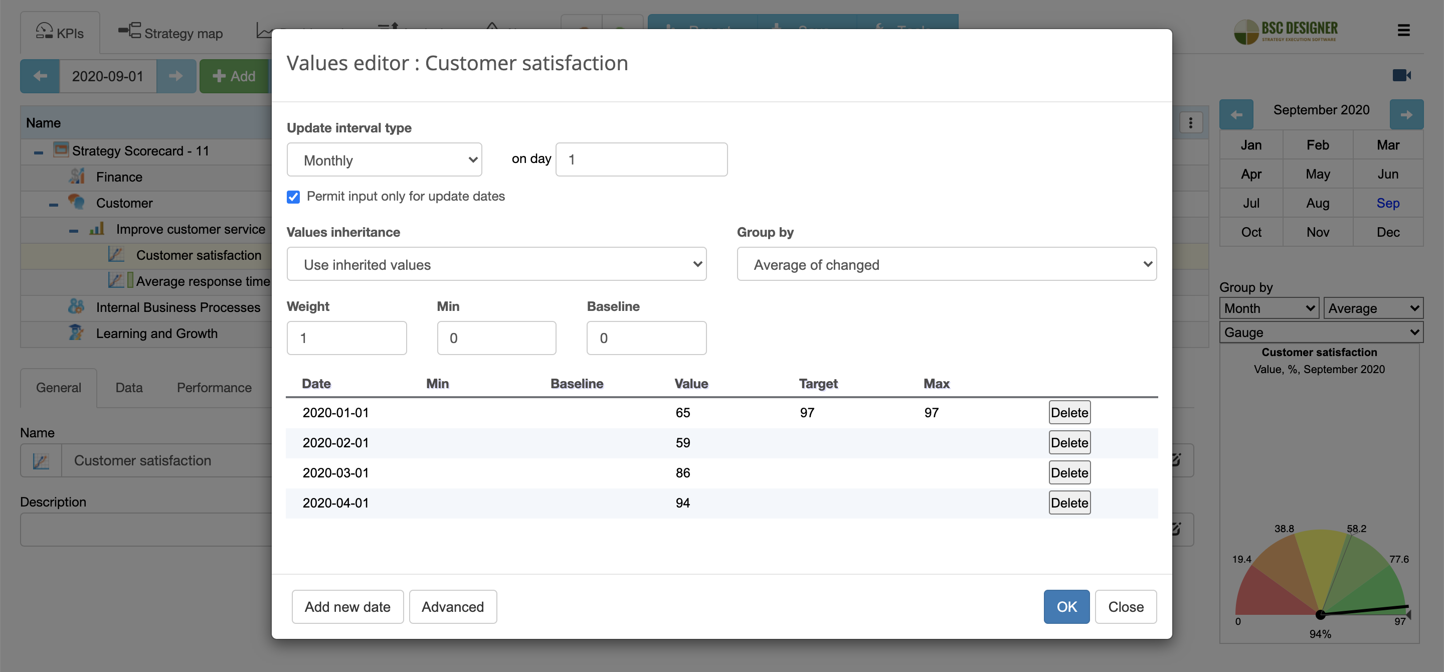Control KPI update interval and grouping setting